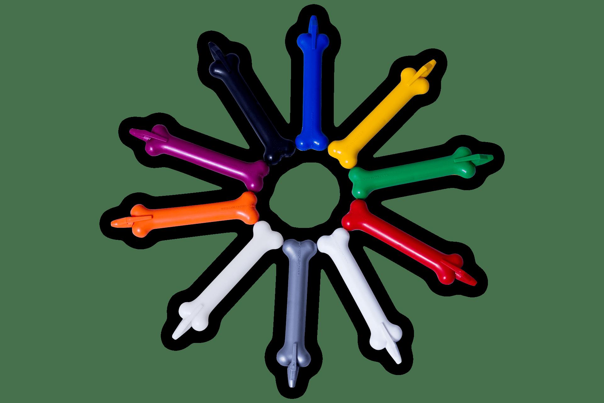 Imagem do produto caneta ossinho da Linha Diversos, formando um circulo com várias cores do produto para visualização